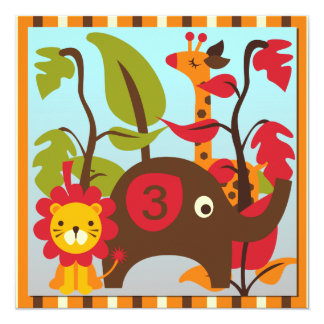 Invitaciones del personalizado del safari del invitación 13,3 cm x 13,3cm
