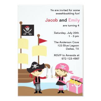 Invitaciones del pirata del muchacho y del chica invitación 12,7 x 17,8 cm
