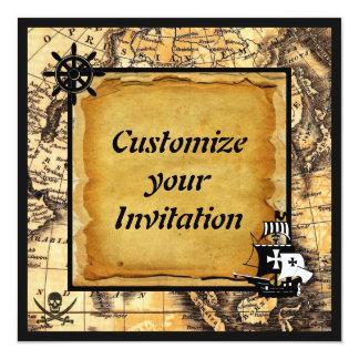 Invitaciones del pirata invitación 13,3 cm x 13,3cm