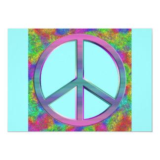 Invitaciones del signo de la paz del arco iris comunicado personalizado