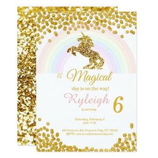 Invitaciones del unicornio en oro