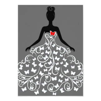 Invitaciones del vestido de la mariposa invitación 12,7 x 17,8 cm