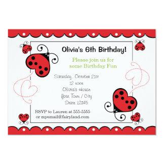 Invitaciones dulces del cumpleaños de la mariquita anuncio personalizado