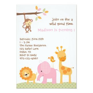Invitaciones dulces rosadas del safari invitación 12,7 x 17,8 cm