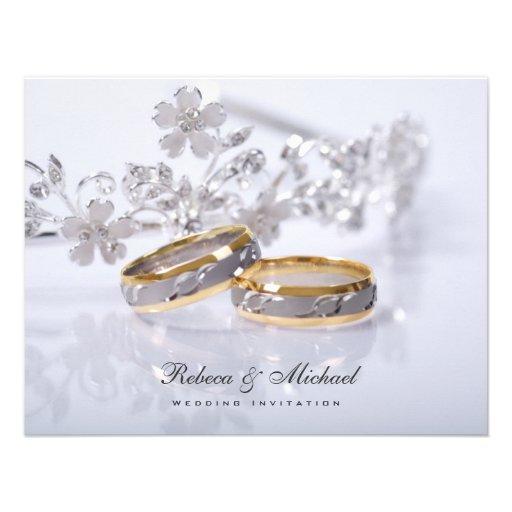 Invitaciones elegantes de la alianza de boda comunicado personalizado