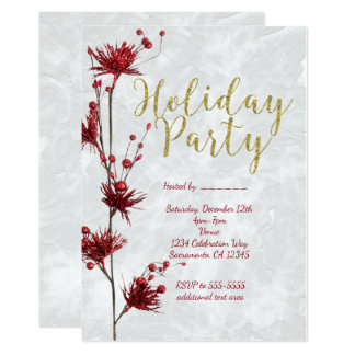 Invitaciones elegantes de la baya floral roja de invitación 12,7 x 17,8 cm