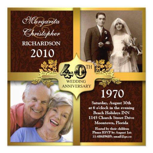 invitaciones elegantes de la foto del 40.o anivers invitacion personalizada