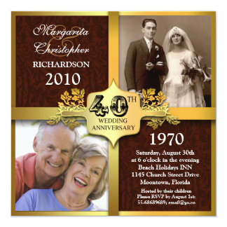invitaciones elegantes de la foto del 40.o invitación 13,3 cm x 13,3cm