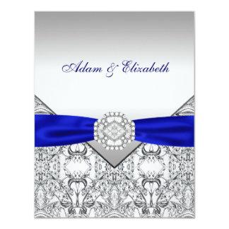 Invitaciones elegantes de la plata y del boda del