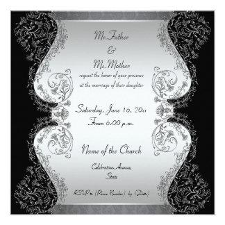 Invitaciones elegantes de la plata y del boda del  anuncio