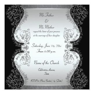 Invitaciones elegantes de la plata y del boda del invitación 13,3 cm x 13,3cm