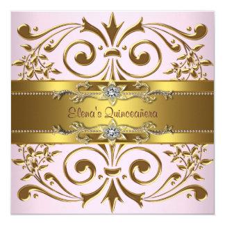 Invitaciones elegantes de Quinceanera del rosa y Invitación 13,3 Cm X 13,3cm