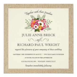 Invitaciones elegantes del boda de la arpillera invitación 13,3 cm x 13,3cm