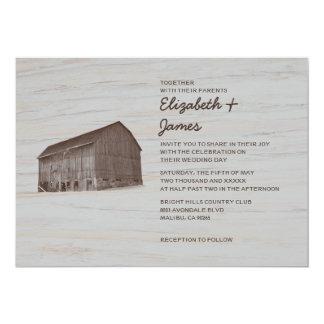 Invitaciones elegantes del boda de la granja invitación 12,7 x 17,8 cm