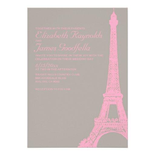 Invitaciones elegantes del boda de la torre Eiffel Anuncio Personalizado