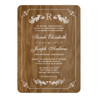 Invitaciones elegantes del boda del monograma de invitación 11,4 x 15,8 cm