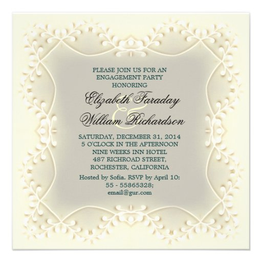 invitaciones elegantes del compromiso comunicados personalizados