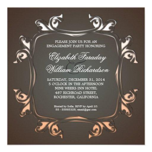 invitaciones elegantes del compromiso anuncio personalizado
