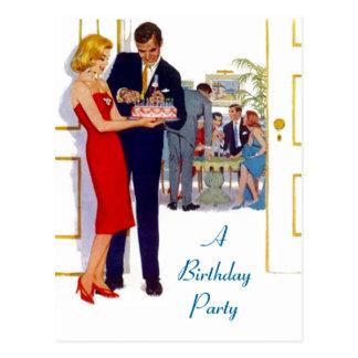 Invitaciones elegantes retras de la fiesta de cump postal