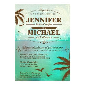 Invitaciones escénicas verde azuladas tropicales