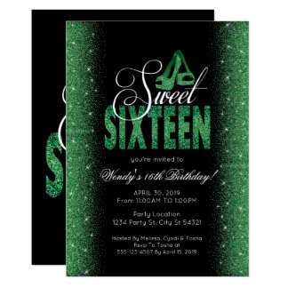 Invitaciones esmeralda extravagantes del fiesta