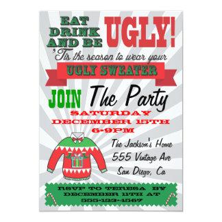 Invitaciones feas de la fiesta de Navidad del Invitación 12,7 X 17,8 Cm