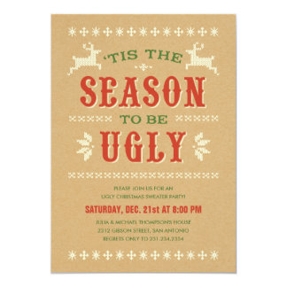 Invitaciones feas de la fiesta de Navidad del Comunicados Personalizados