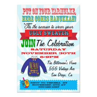 Invitaciones feas del fiesta de Jánuca del suéter Invitación 12,7 X 17,8 Cm