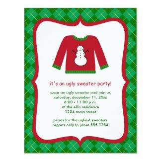 Invitaciones feas del fiesta del suéter del anuncio personalizado
