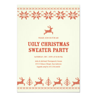 Invitaciones feas del fiesta del suéter del día de invitación 12,7 x 17,8 cm