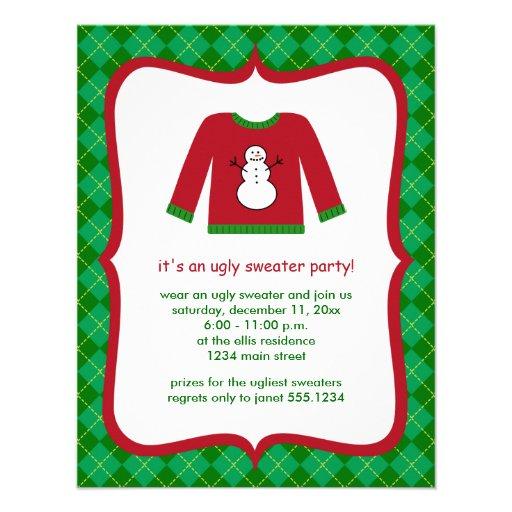 Invitaciones feas del fiesta del suéter del navida anuncio personalizado