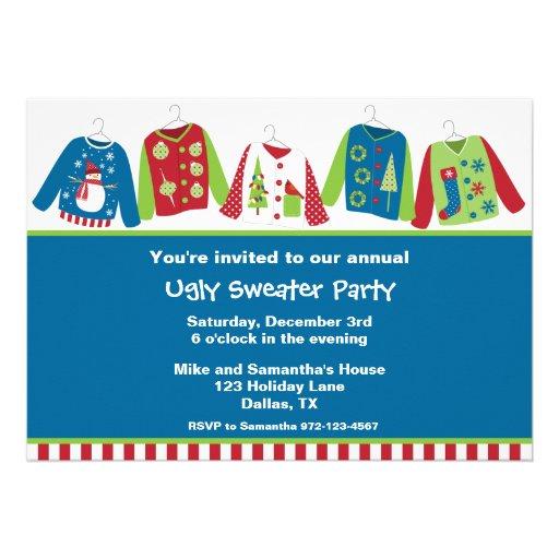Invitaciones feas del fiesta del suéter del navida invitaciones personalizada
