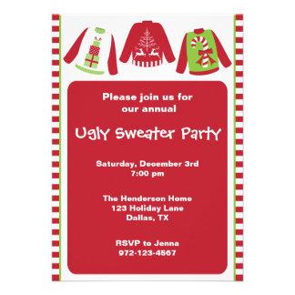Invitaciones feas del fiesta del suéter del navida