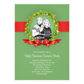 Invitaciones feas del fiesta del suéter del navida invitación