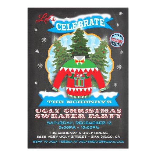 Invitaciones feas del suéter del navidad de la piz comunicado