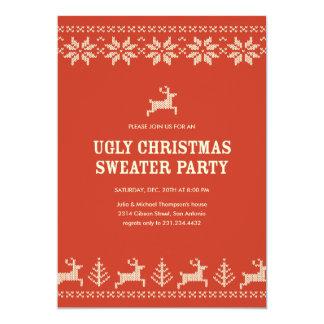 Invitaciones feas rojas del fiesta del suéter invitación 12,7 x 17,8 cm