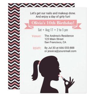 Invitaciones femeninas de la fiesta de cumpleaños invitación 10,8 x 13,9 cm