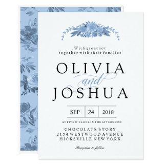 Invitaciones florales azules del boda