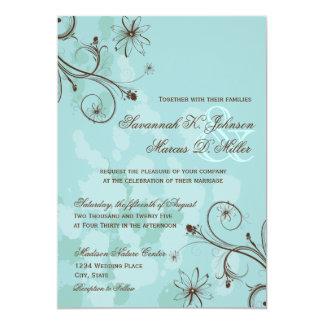 Invitaciones florales azules del boda de Brown del