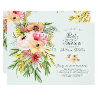 Invitaciones florales de la fiesta de bienvenida