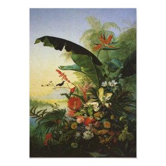 Invitaciones florales de Luau de la ave del Invitación 12,7 X 17,8 Cm