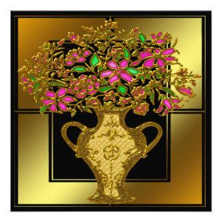 Invitaciones florales de oro de la fiesta de cumpl comunicado