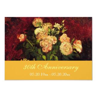 Invitaciones florales del aniversario de la bella invitación 11,4 x 15,8 cm