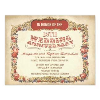 invitaciones florales del aniversario del invitación 10,8 x 13,9 cm