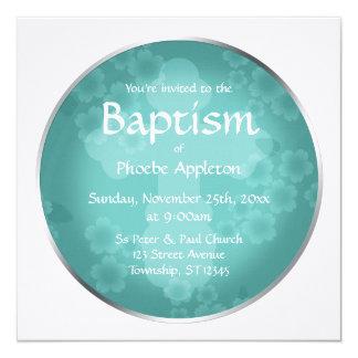 Invitaciones florales del bautismo de la turquesa invitación 13,3 cm x 13,3cm