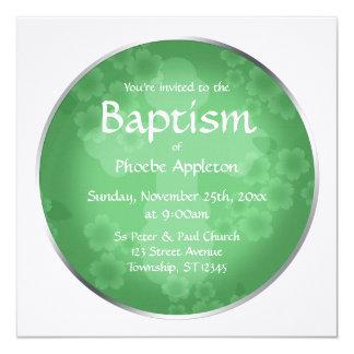 Invitaciones florales del bautismo del verde de invitación 13,3 cm x 13,3cm