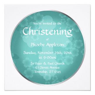 Invitaciones florales del bautizo de la turquesa invitación 13,3 cm x 13,3cm