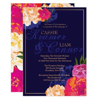 Invitaciones florales del boda de la marina de invitación 12,7 x 17,8 cm