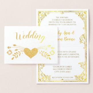 Tarjeta Con Relieve Metalizado Invitaciones florales del boda de la tipografía