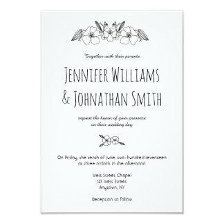 Invitaciones florales del boda del b&w elegante